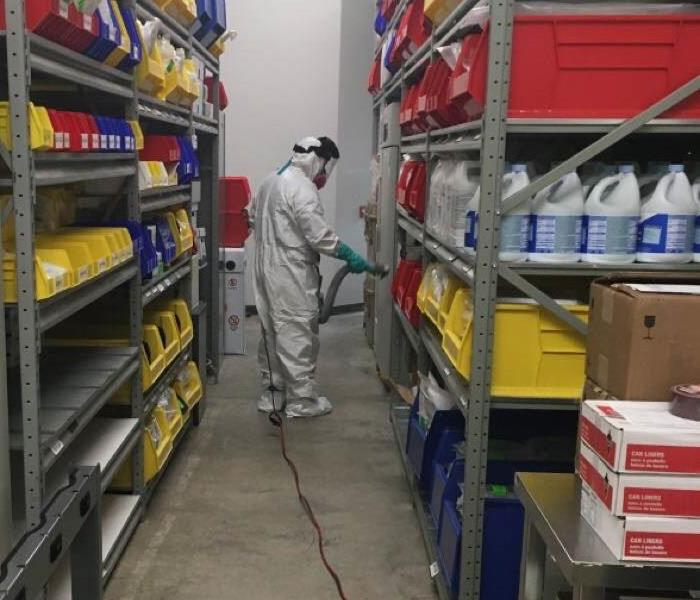 Disinfecting of a warehouse